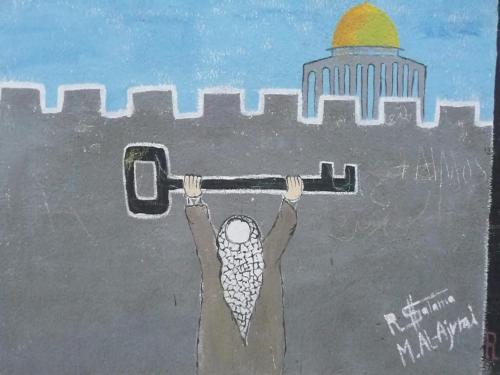 Palestinian holding his key to return.