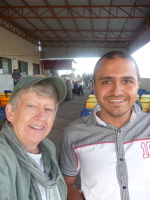Ahmad and me at the Rafah border crossing on Gaza side.