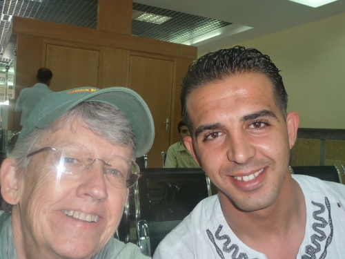 Refa'at and me at the Rafah border on the Egyptian side.