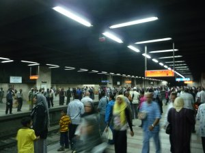Egyptians in the Cairo underground Metro.