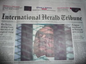 Mubarak on the the front page.