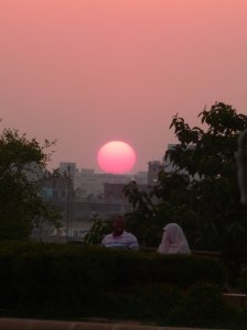 Egyptian couple at sunset in Cairo.