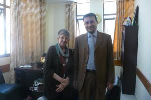 Lora standing with the President of the Palestinian Bar Association in Gaza