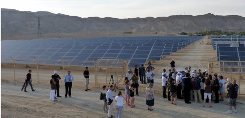 The inauguration of Israel's first solar field, at a kibbutz in the Negev desert, on June 5, 2011. (photo: Matthew Bell)