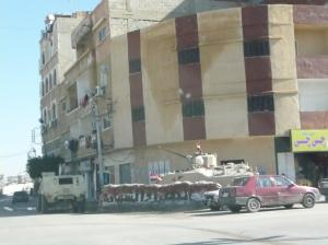 Egyptian tank on the street corner in Al Arish