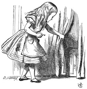 Alice in Wonderland looking behind the curtain.