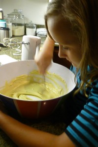 Lila making a birthday cake.