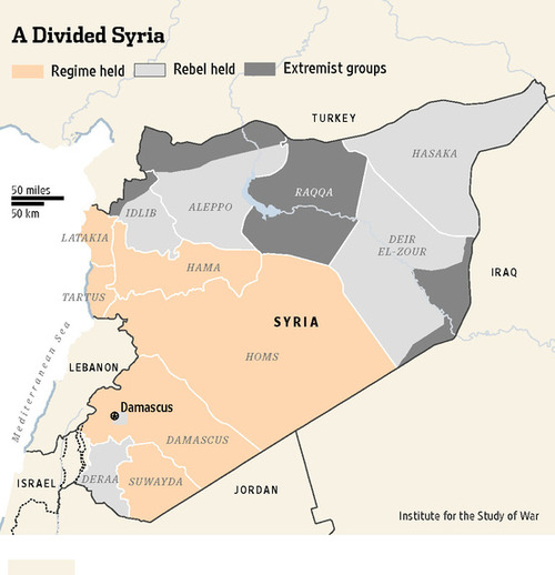 Map of Syria showing the three strongholds.