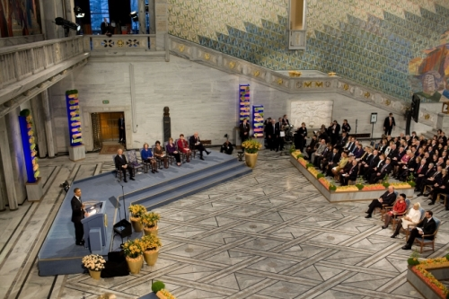 President Barack Obama delivers remarks during the Nobel Peace Prize ceremony in Raadhuset Main Hall at Oslo City Hall, Dec. 10, 2009. (Official White House Photo by Pete Souza)