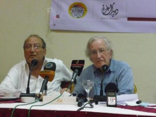 Dr. Eyad al-Sarraj (l) and Professor Noam Chomsky (r) in Gaza October 19, 2012
