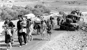 "Palestinian refugees (British Mandate of Palestine - 1948). ""Making their way from Galilee in October-November 1948"""