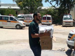 Delivering medical supplies to the Ministry of Health in Gaza