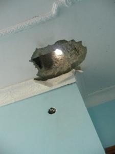 November 2012 - Israel's warning shot landed 10 feet from a child's bed in Khan Yunis, Gaza Strip