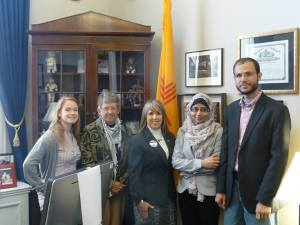 Refaat Alareer and Rawan Yaghi meet with Congresswoman Lujan-Grisham (D-NM)