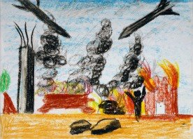 Palestinian child's drawing in Gaza