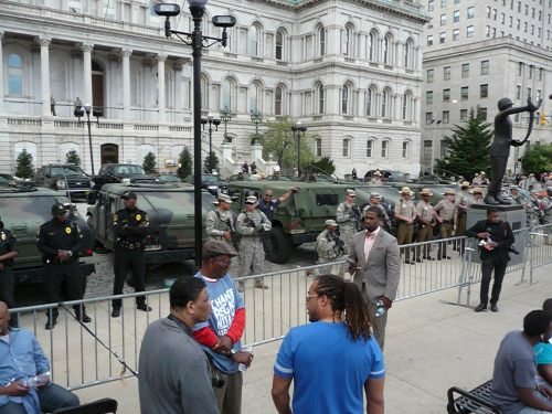 National Guard in front of Baltimore City Hall