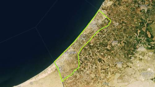 The Gaza Strip outlined in green.