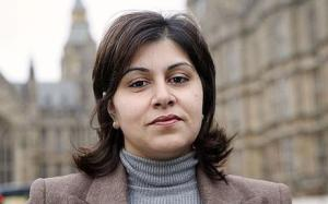 Baroness Sayeed Warsi outside the Houses of Parliament, Westminster. Photo by  Ian Jones