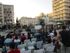 Communist Youth rally in Patras' central square.