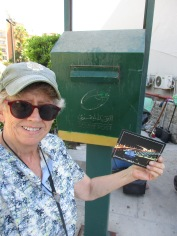 Lora mailing postcard to Gaza