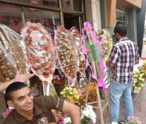 Floral arrangements are ubiquitous in Gaza for weddings and many celebrations
