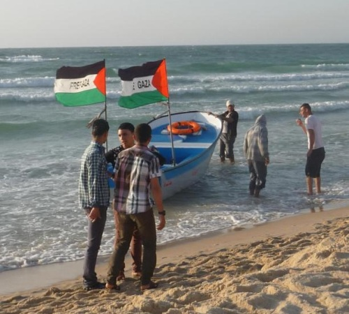 Gaza boys flag beach