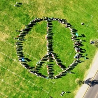 Human Peace Sign on Johnson Field_1